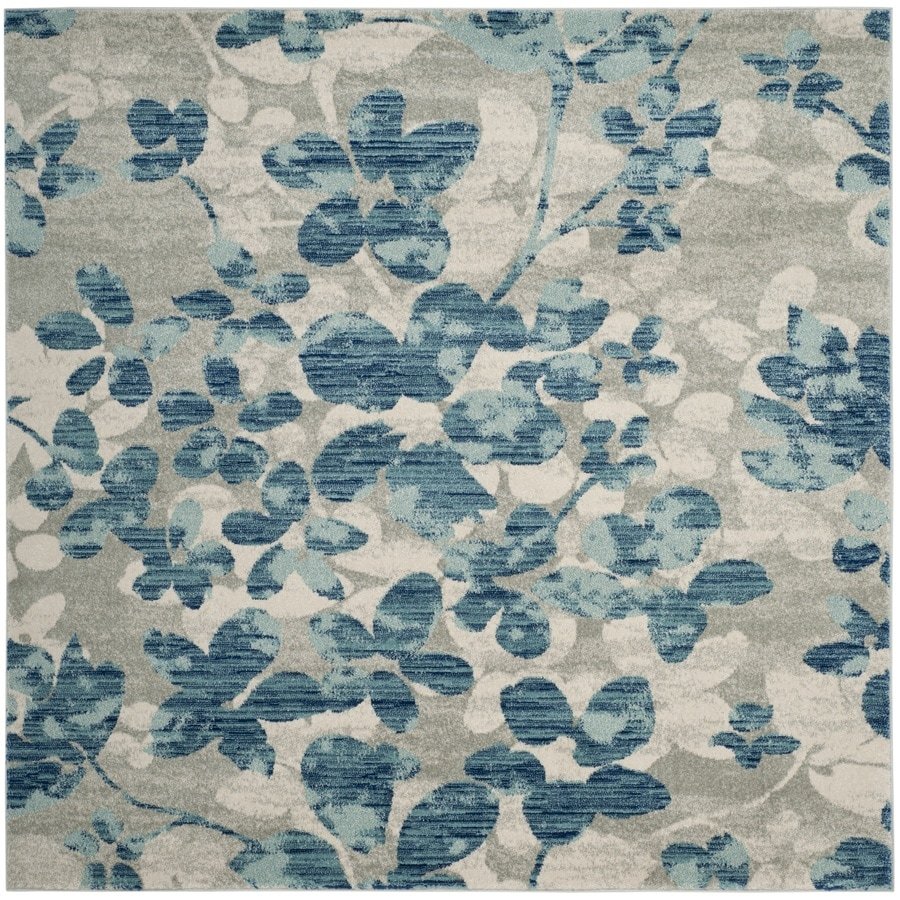 Safavieh Evoke Maxwell Gray/Light Blue Square Indoor Oriental Area Rug (Common: 7 x 7; Actual: 6.7-ft W x 6.6-ft L)