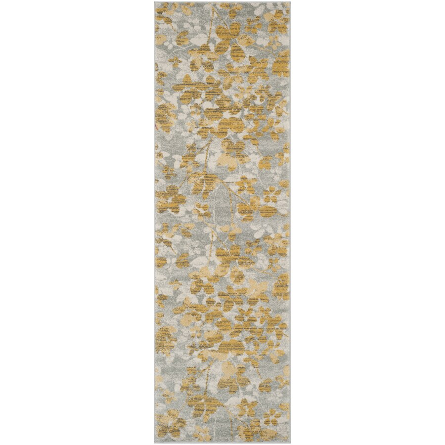 Safavieh Evoke Maxwell Gray/Gold Rectangular Indoor Machine-Made Oriental Runner (Common: 2 x 9; Actual: 2.2-ft W x 9-ft L)