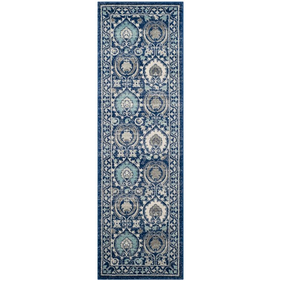 Safavieh Evoke Malaga Blue/Ivory Indoor Oriental Runner (Common: 2 x 9; Actual: 2.2-ft W x 9-ft L)