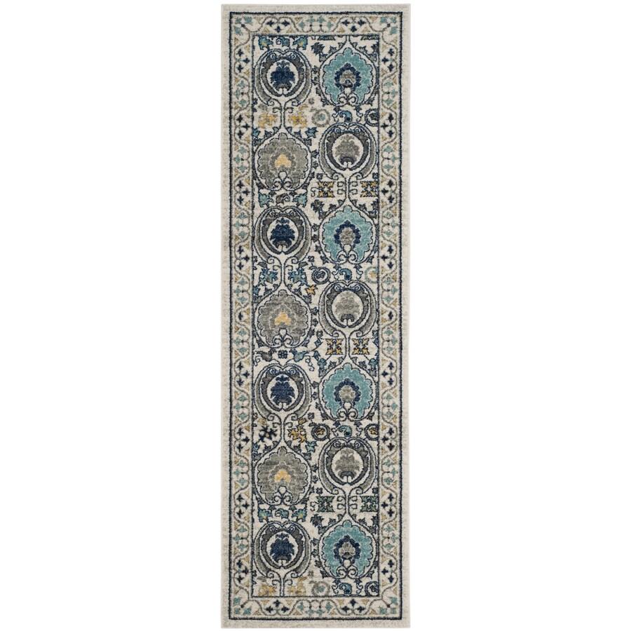 Safavieh Evoke Malaga Ivory/Gray Rectangular Indoor Machine-Made Oriental Runner (Common: 2 x 9; Actual: 2.2-ft W x 9-ft L)