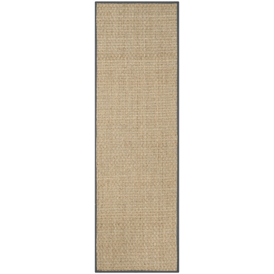 Safavieh Natural Fiber Hampton Natural/Dark Gray Indoor Coastal Runner (Common: 2 x 14; Actual: 2.5-ft W x 14-ft L)