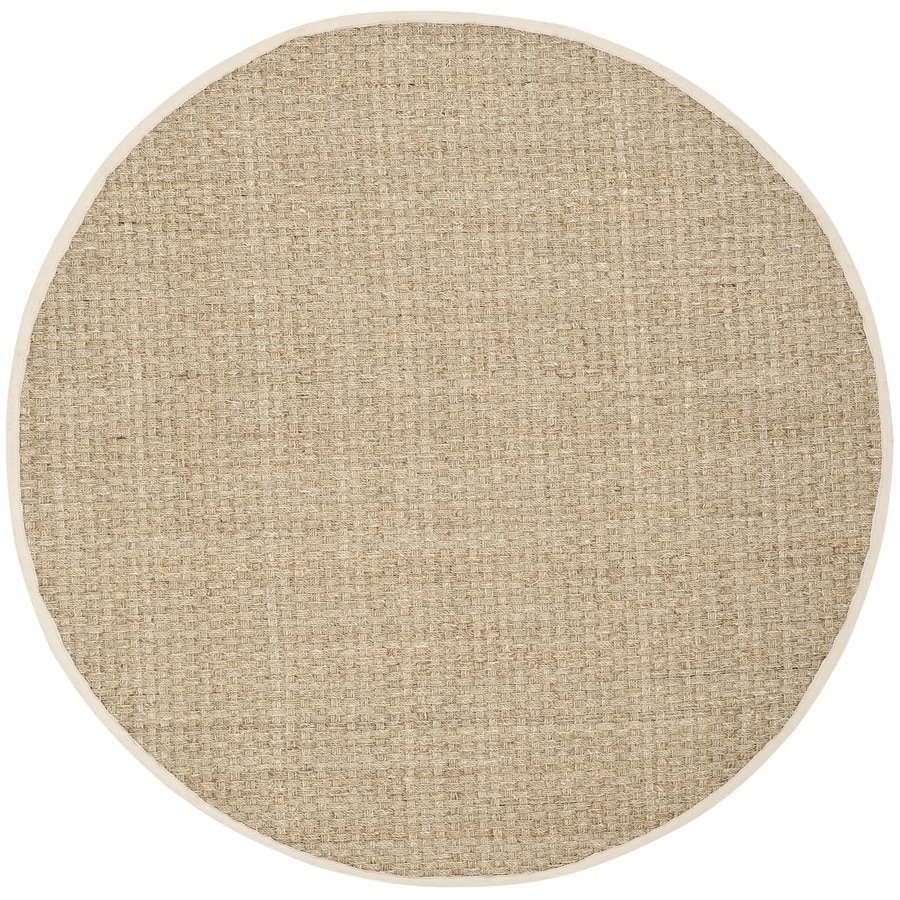 Safavieh Natural Fiber Hampton Natural/Ivory Round Indoor Coastal Area Rug (Common: 9 x 9; Actual: 9-ft W x 9-ft L x 9-ft dia)