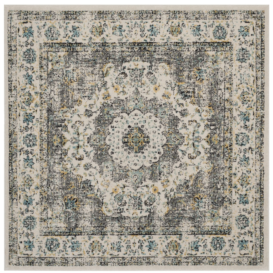 Safavieh Evoke Savoy Gray/Gold Square Indoor Machine-Made Oriental Area Rug (Common: 5 x 5; Actual: 5.1-ft W x 5.1-ft L)