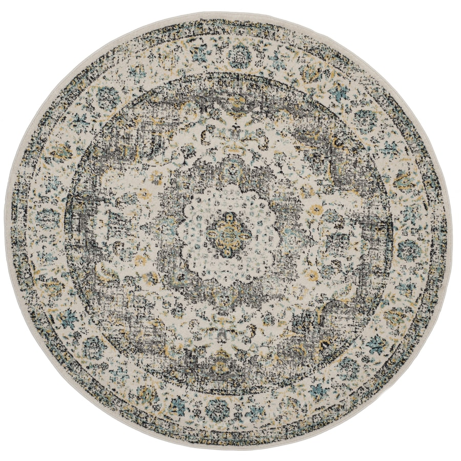 Safavieh Evoke Savoy Gray/Gold Round Indoor Oriental Area Rug (Common: 7 x 7; Actual: 6.7-ft W x 6.6-ft L x 6.6-ft dia)