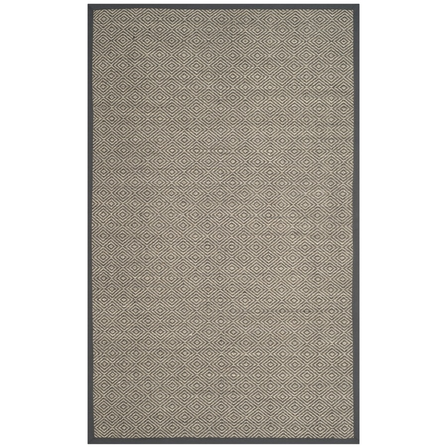 Safavieh Natural Fiber Bayberry Natural/Dark Gray Indoor Coastal Area Rug (Common: 6 x 9; Actual: 6-ft W x 9-ft L)