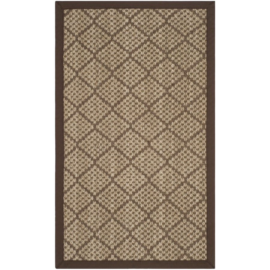 Safavieh Natural Fiber Quogue Natural/Brown Indoor Coastal Throw Rug (Common: 3 x 5; Actual: 3-ft W x 5-ft L)