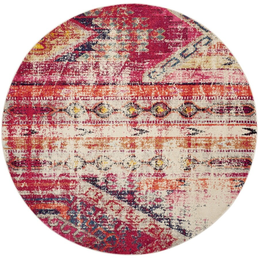 Safavieh Monaco Kolby Magenta/Multi Round Indoor Machine-made Distressed Area Rug (Common: 5 x 5; Actual: 5-ft W x 5-ft L x 5-ft dia)