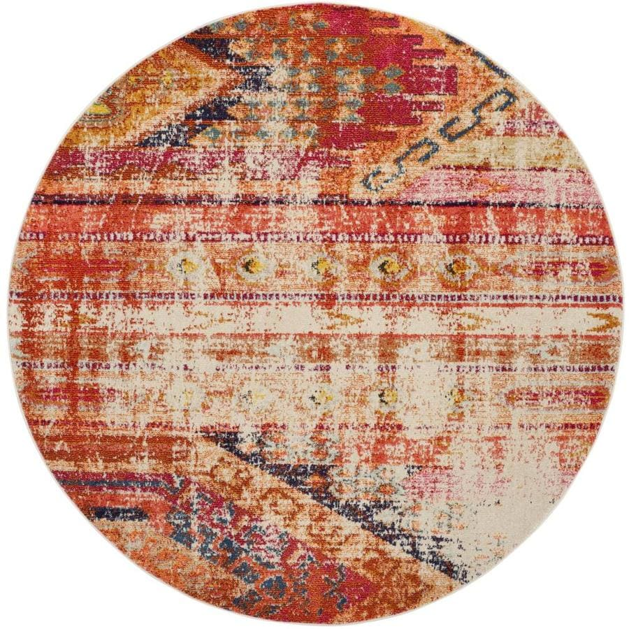 Safavieh Monaco Kolby Orange Round Indoor Distressed Area Rug (Common: 5 x 5; Actual: 5-ft W x 5-ft L x 5-ft dia)