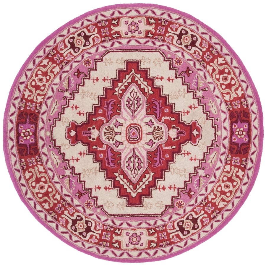 Safavieh Bellagio Burgos 5 X 5 Red Pink Ivory Round Indoor Floral Botanical Bohemian Eclectic Handcrafted Area Rug In The Rugs Department At Lowes Com