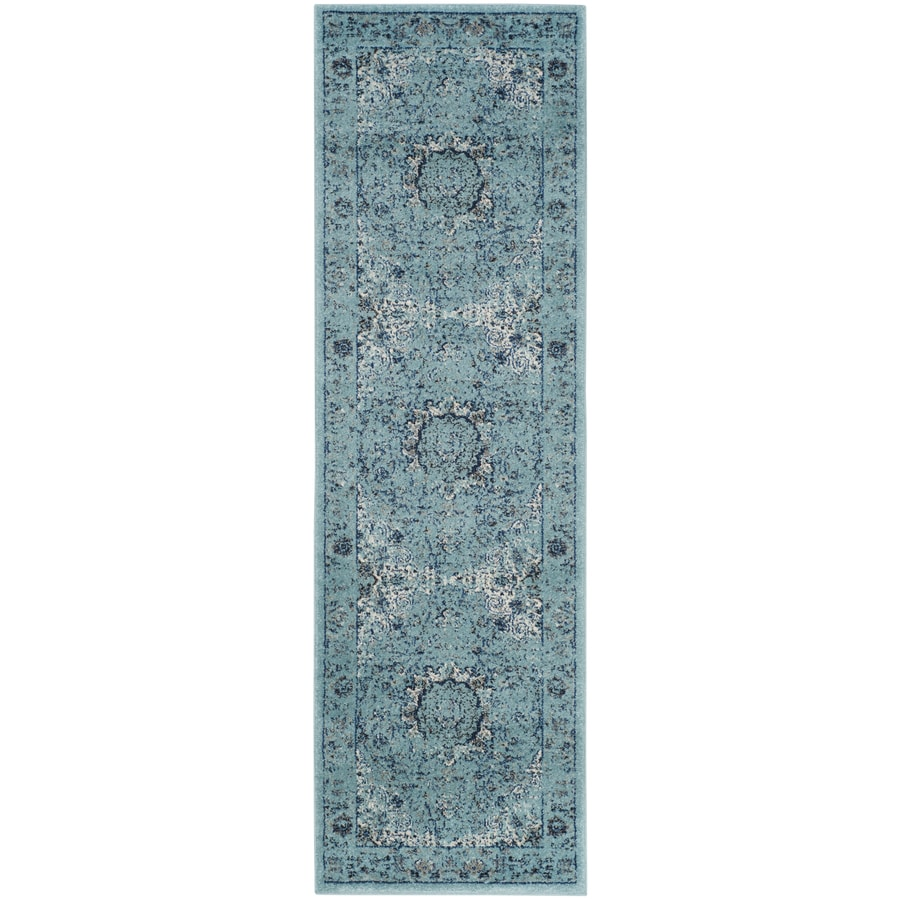 Safavieh Evoke Savoy Light Blue/Light Blue Rectangular Indoor Machine-made Oriental Runner (Common: 2 x 13; Actual: 2.2-ft W x 13-ft)