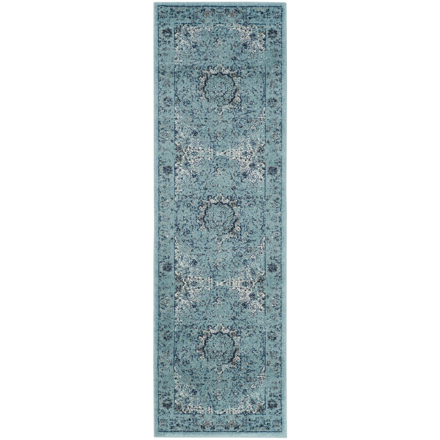 Safavieh Evoke Savoy Light Blue/Light Blue Rectangular Indoor Machine-made Oriental Runner (Common: 2 x 15; Actual: 2.2-ft W x 15-ft)