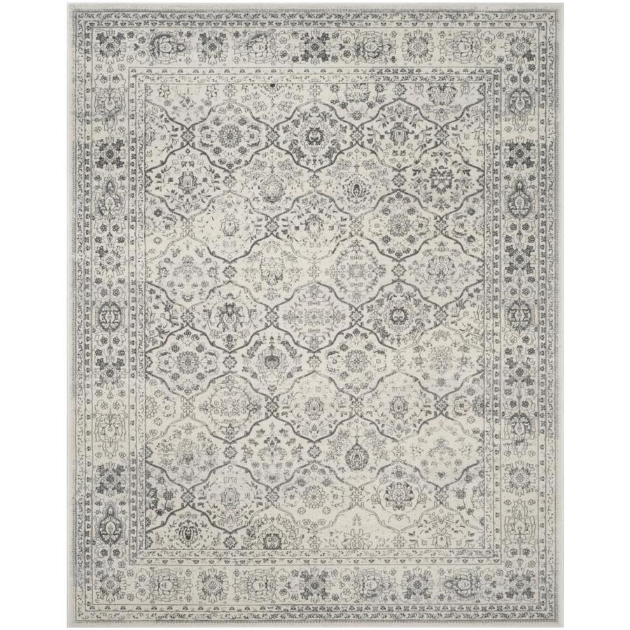 Safavieh Carnegie Winston Cream/Dark Gray Rectangular Indoor Machine-Made Distressed Area Rug (Common: 5 X 7; Actual: 5.1-ft W x 7.5-ft L)