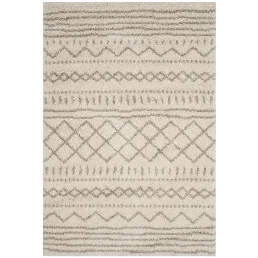 Safavieh Arizona Shag Sedona Ivory/Beige Indoor Southwestern Area Rug (Common: 5 x 8; Actual: 5.2-ft W x 7.5-ft L)