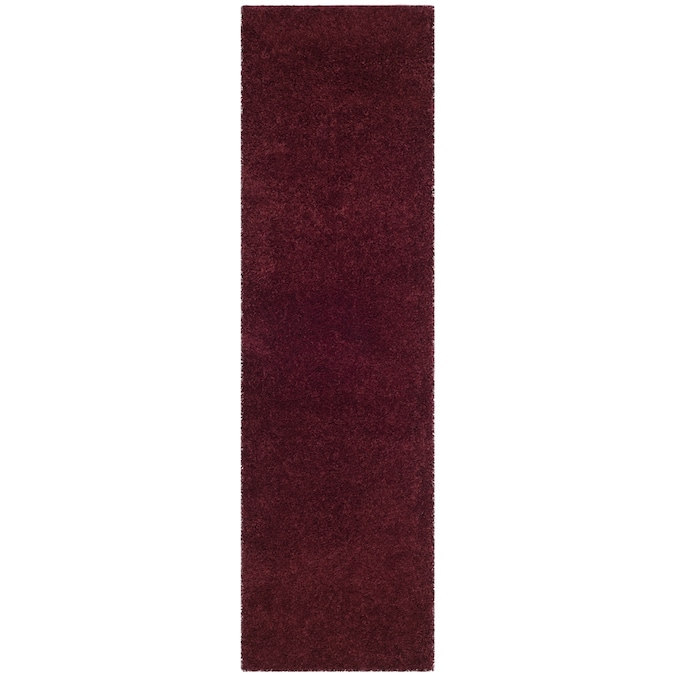 Safavieh Laguna Shag 2 X 8 Maroon Indoor Solid Runner In The Rugs Department At Lowes Com