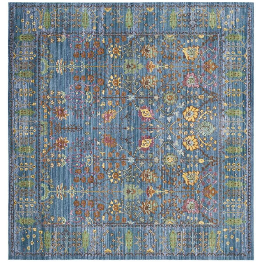 Safavieh Valencia Odessa Blue Square Indoor Distressed Area Rug (Common: 7 x 7; Actual: 6.6-ft W x 6.6-ft L)
