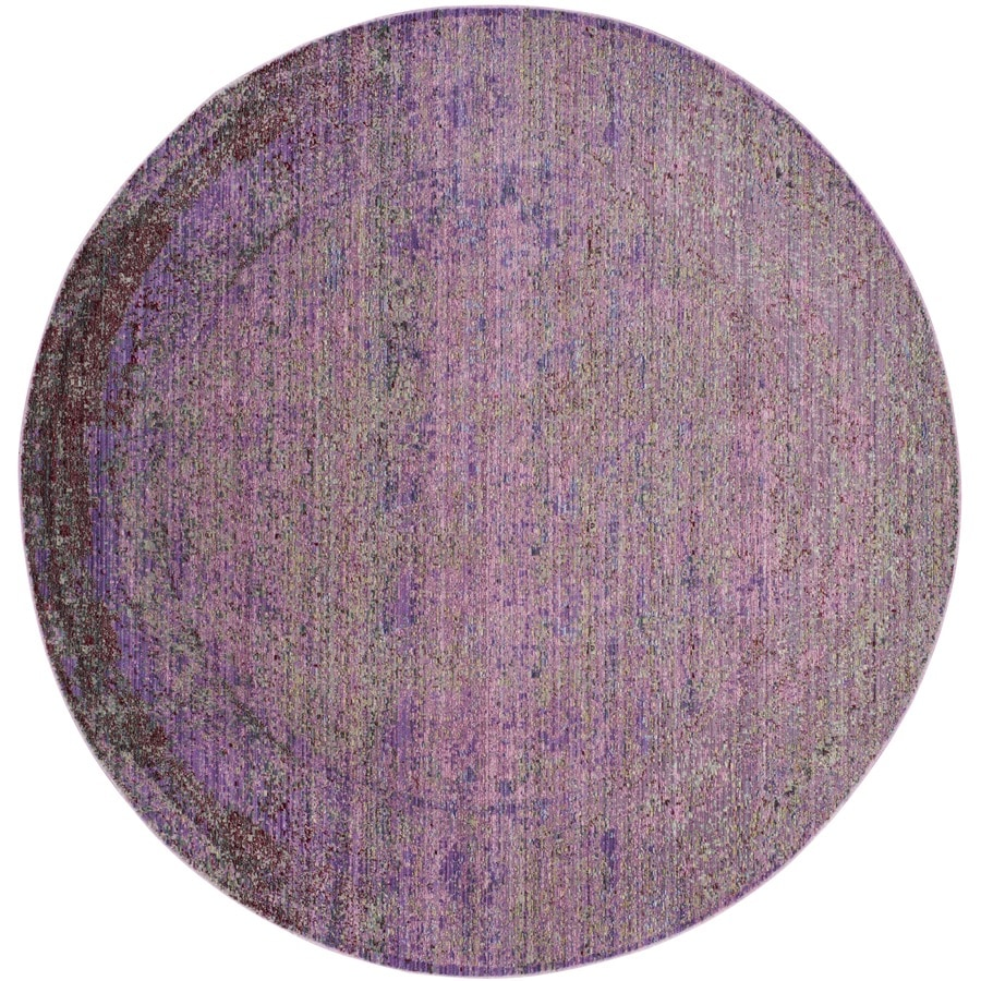Safavieh Valencia Nazarie Lavander Round Indoor Distressed Area Rug (Common: 7 x 7; Actual: 6.7-ft W x 6.6-ft L x 6.6-ft dia)