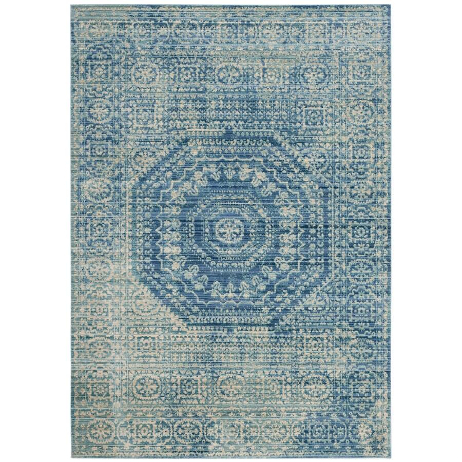 Safavieh Valencia Konye Blue Indoor Distressed Area Rug (Common: 6 x 9; Actual: 6-ft W x 9-ft L)