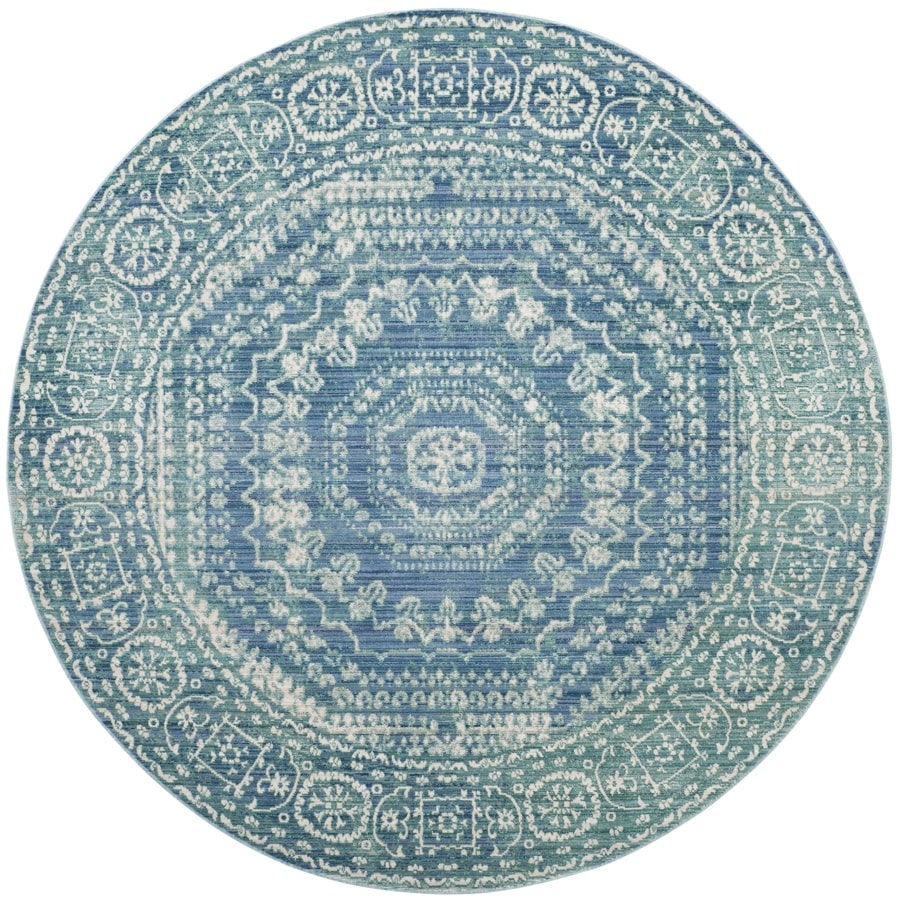 Safavieh Valencia Konye Blue Round Indoor Distressed Area Rug (Common: 7 x 7; Actual: 6.7-ft W x 6.6-ft L x 6.6-ft dia)