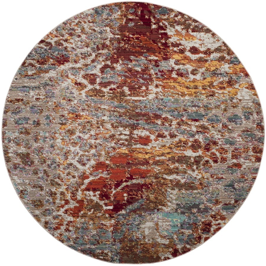 Safavieh Valencia Etra Multi Round Indoor  Distressed Area Rug (Common: 7 x 7; Actual: 6.7-ft W x 6.6-ft L x 6.6-ft dia)