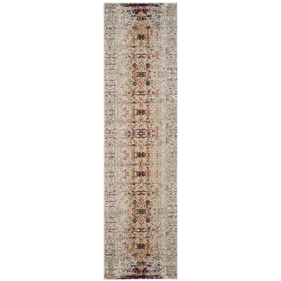 Safavieh Monaco Kimberly Ivory/Pink Rectangular Indoor Machine-Made Distressed Runner (Common: 2 x 14; Actual: 2.1-ft W x 14-ft L)