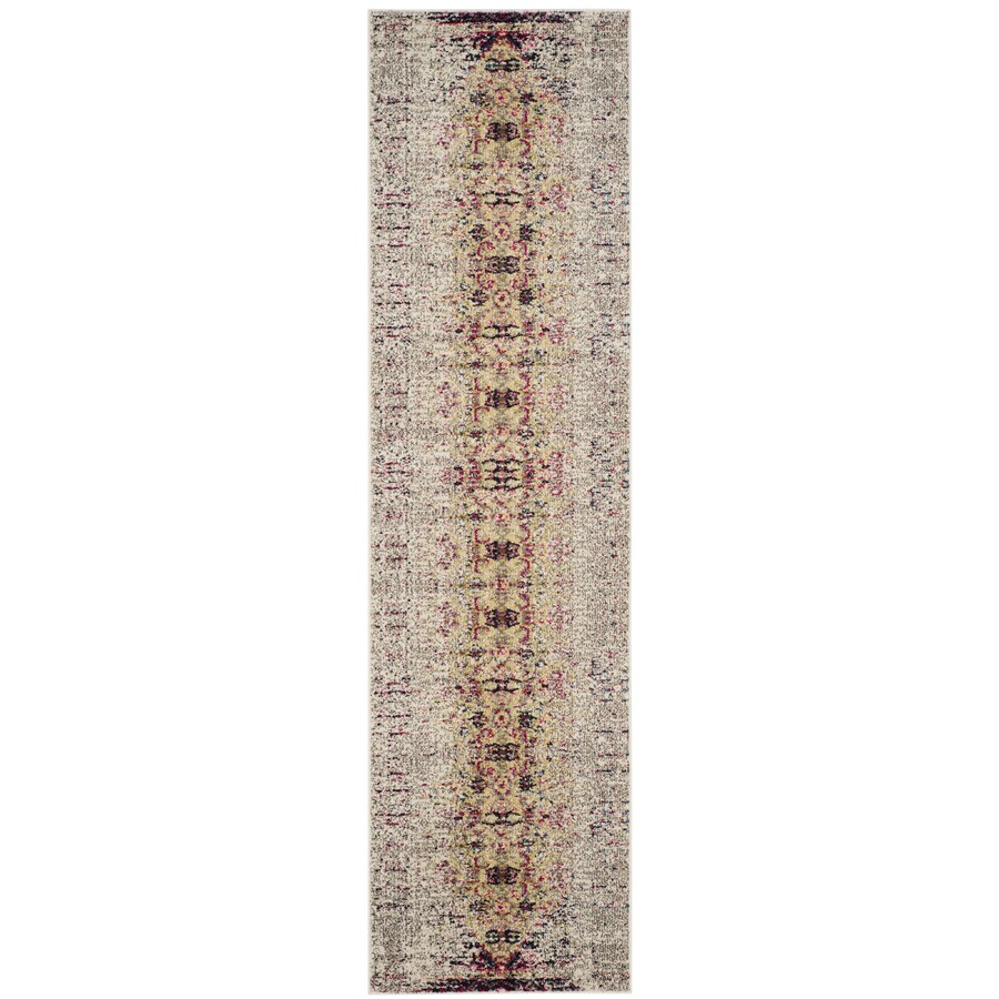 Safavieh Monaco Kimberly Ivory/Pink Indoor Distressed Runner (Common: 2 x 22; Actual: 2.1-ft W x 22-ft L)