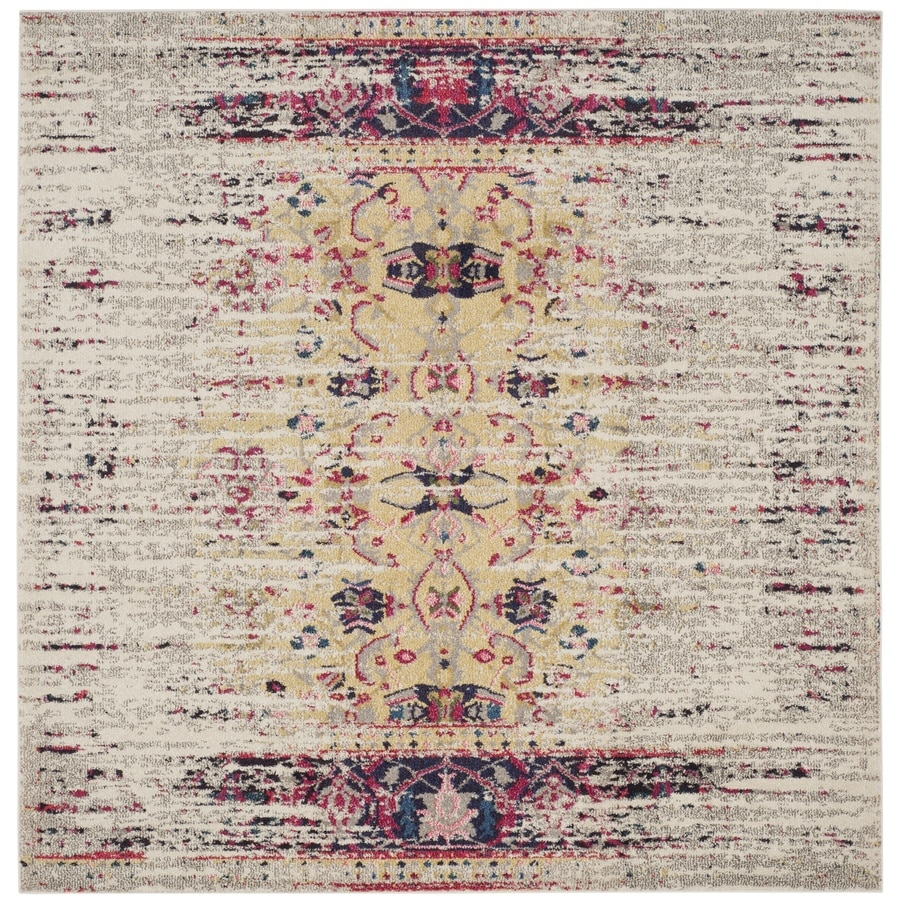 Safavieh Monaco Kimberly Ivory/Pink Square Indoor Distressed Area Rug (Common: 5 x 5; Actual: 5-ft W x 5-ft L)