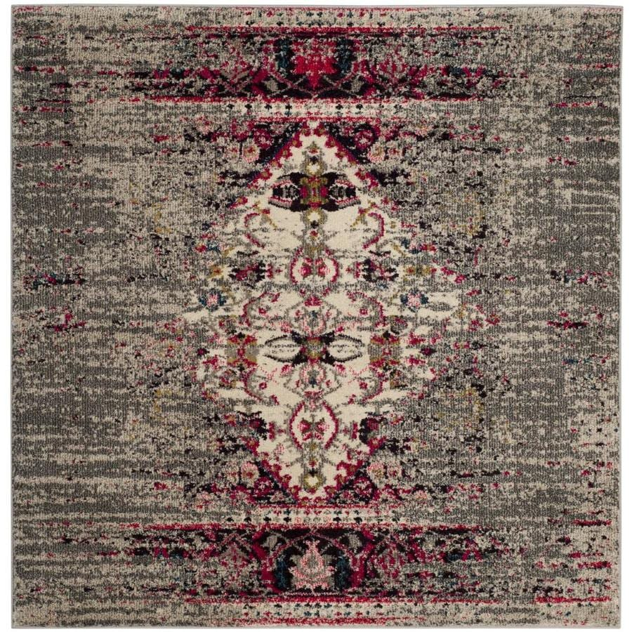 Safavieh Monaco Kimberly Ivory/Pink Square Indoor Machine-Made Distressed Area Rug (Common: 5 x 5; Actual: 5-ft W x 5-ft L)