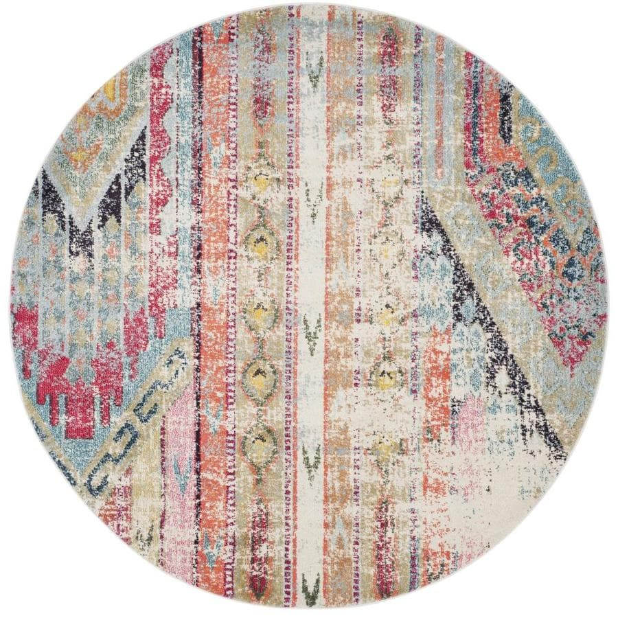 Safavieh Monaco Kolby Round Indoor Distressed Area Rug (Common: 9 x 9; Actual: 9-ft W x 9-ft L x 9-ft dia)