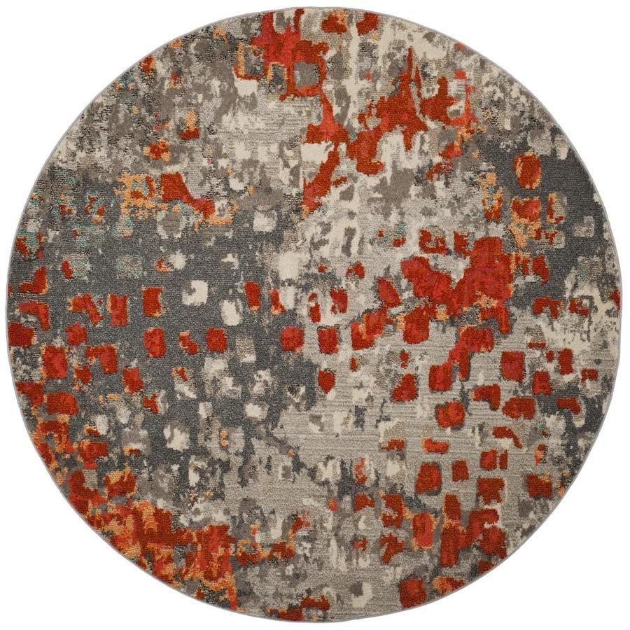 Safavieh Monaco Gogh Gray/Orange Round Indoor Area Rug (Common: 7 x 7; Actual: 6.7-ft W x 6.6-ft L x 6.6-ft dia)