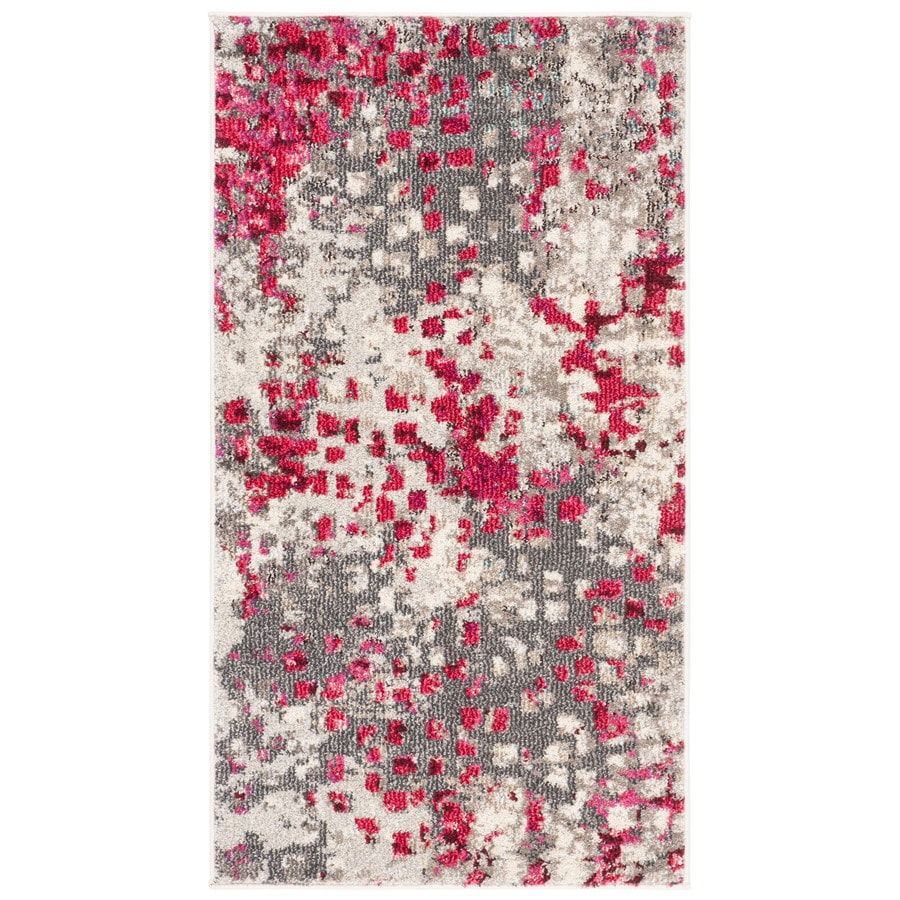 Safavieh Monaco Gogh Gray/Fuchsia Indoor Throw Rug (Common: 2 x 4; Actual: 2.2-ft W x 4-ft L)