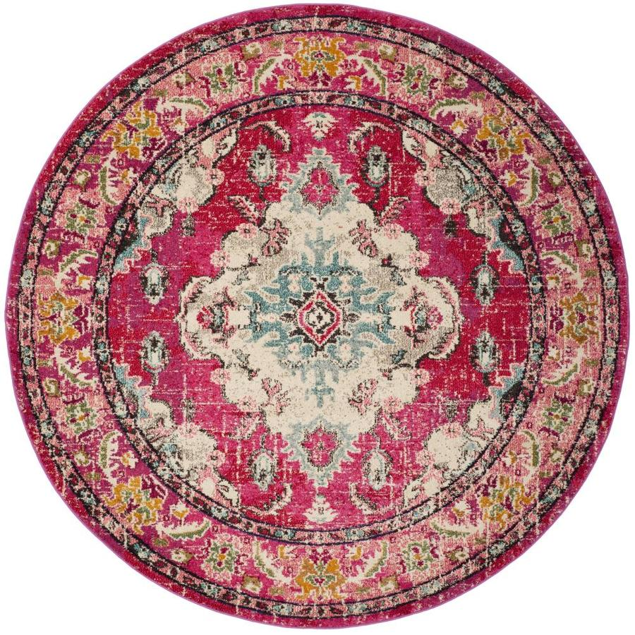Safavieh Monaco Mahal Pink Round Indoor Machine-Made Distressed Area Rug (Common: 5 x 5; Actual: 5-ft W x 5-ft L x 5-ft dia)