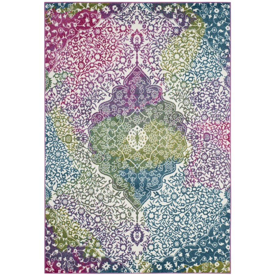 Safavieh Watercolor Holden 5 X 8 Ivory Fuchsia Indoor Abstract Area Rug In The Rugs Department At Lowes Com