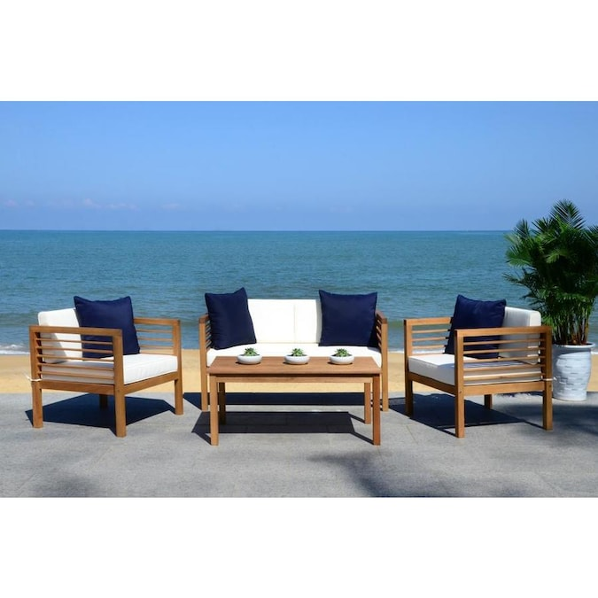 Safavieh Alda 4-Piece Wood Frame Patio Conversation Set ... on Safavieh Alda 4Pc Outdoor Set id=58336