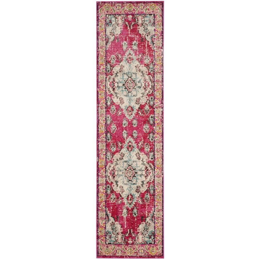 Safavieh Monaco Mahal Pink/Multi Rectangular Indoor Machine-made Oriental Runner (Common: 2 x 18; Actual: 2.2-ft W x 18-ft L)