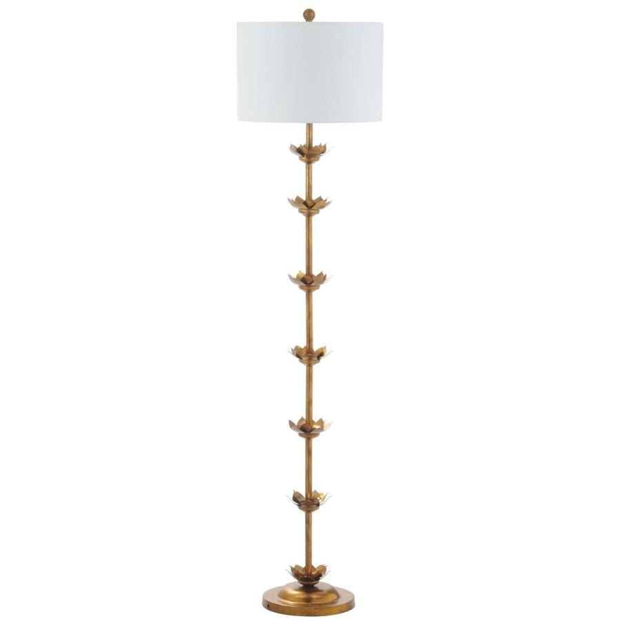 Safavieh Landen 63.5-in Antique Gold Rotary Socket Floor Lamp with Fabric Shade
