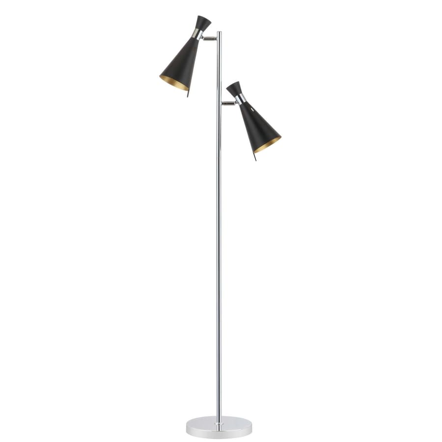 Safavieh Efisio 61 5 In Chrome Foot Switch Tree Track Floor Lamp With Metal Shade