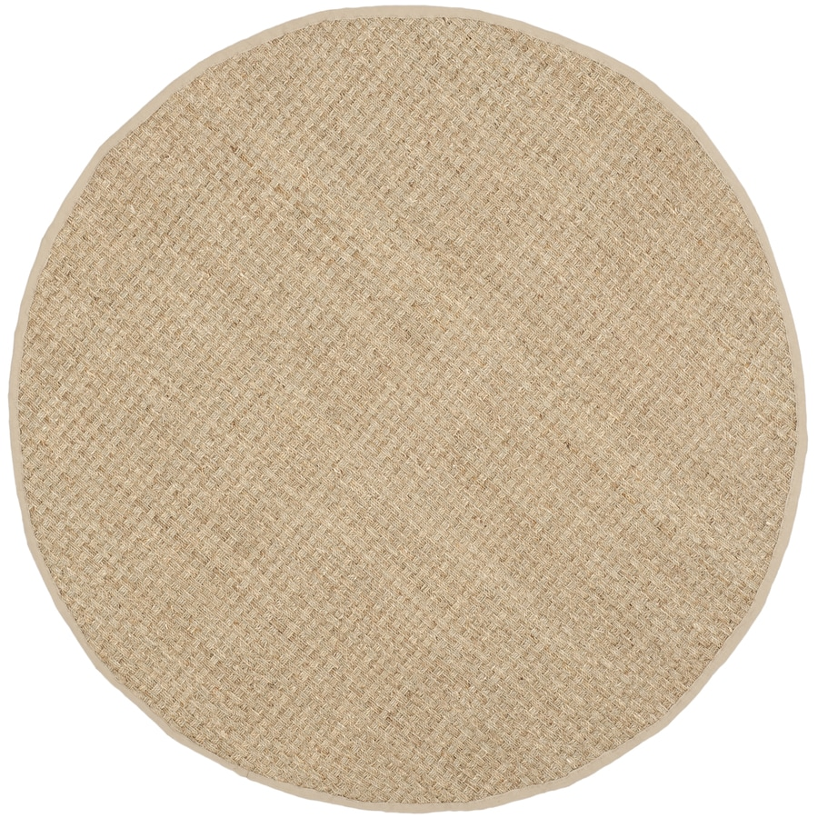 Safavieh Natural Fiber Hampton Natural/Beige Round Indoor Coastal Throw Rug (Common: 3 x 3; Actual: 3-ft W x 3-ft L x 3-ft dia)