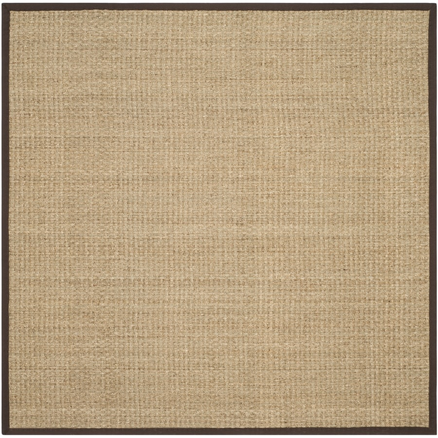 Safavieh Natural Fiber Hampton Natural/Dark Brown Square Indoor Coastal Area Rug (Common: 8 x 8; Actual: 8-ft W x 8-ft L)