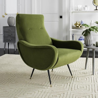 Safavieh Elicia Midcentury Hunter Green Accent Chair at ...