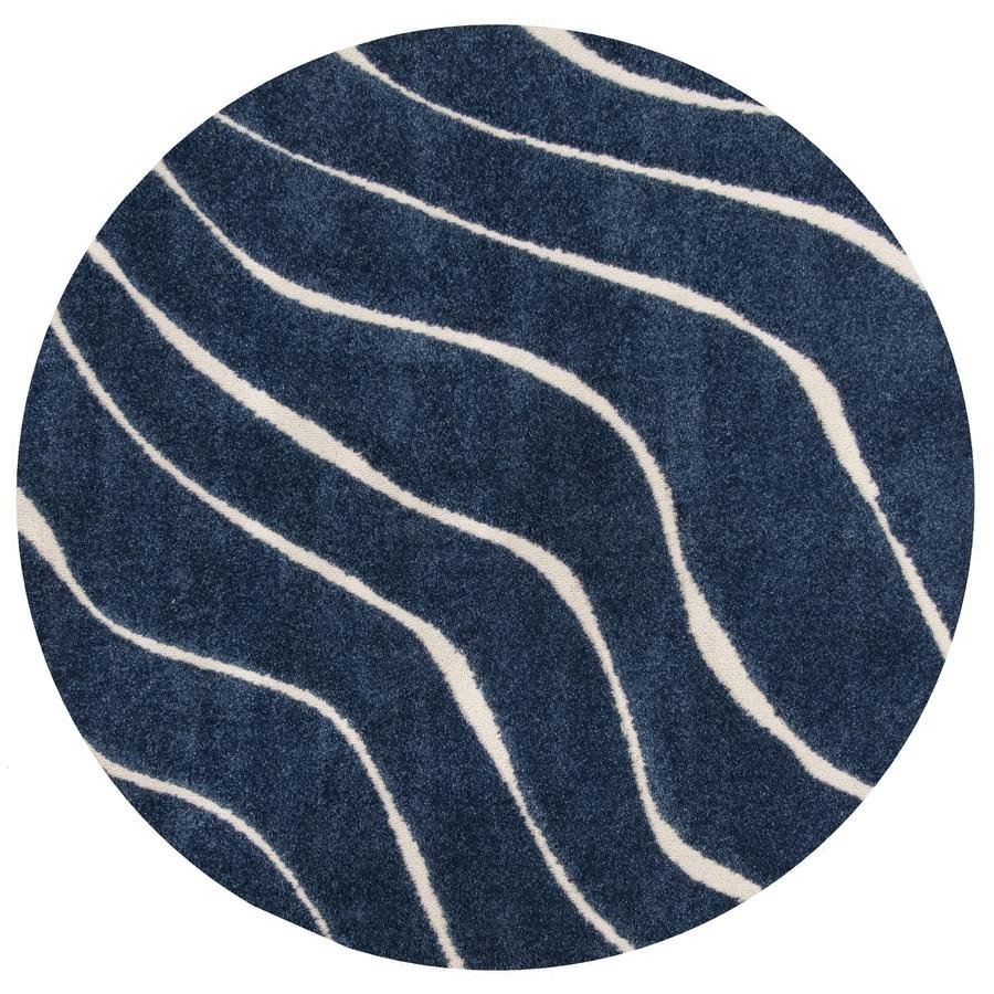 Dark Blue Cream Round Indoor Area Rug