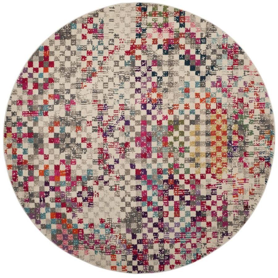 Safavieh Monaco Rutta Gray Round Indoor Area Rug (Common: 7 x 7; Actual: 6.7-ft W x 6.6-ft L x 7-ft dia)