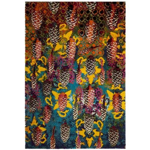Safavieh Fiesta Conic Shag 4 X 6 Turquoise Multi Indoor Abstract Oriental Area Rug In The Rugs Department At Lowes Com