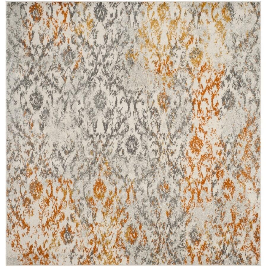 Safavieh Madison Mika Cream/Orange Square Indoor Lodge Area Rug (Common: 7 x 7; Actual: 6.7-ft W x 6.6-ft L)