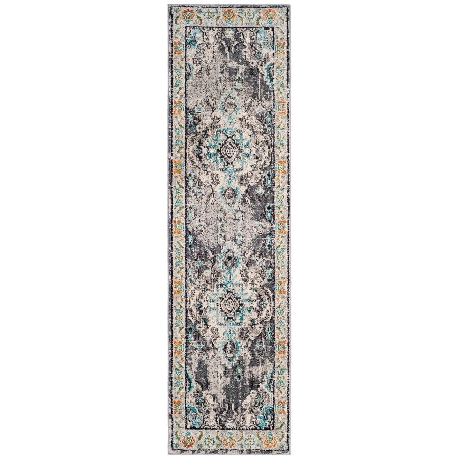 Safavieh Monaco Mahal Gray/Light Blue Rectangular Indoor Machine-made Oriental Runner (Common: 2 x 6; Actual: 2.2-ft W x 6-ft L)