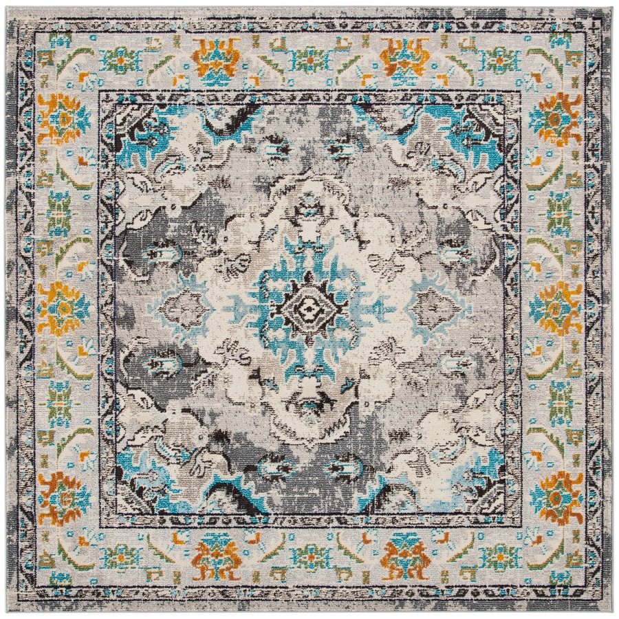 Safavieh Monaco Mahal Gray/Light Blue Square Indoor Oriental Area Rug (Common: 7 x 7; Actual: 6.7-ft W x 6.6-ft L)