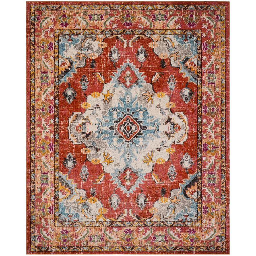 Safavieh Monaco Mahal Orange/Light Blue Indoor Distressed Area Rug (Common: 8 x 10; Actual: 8-ft W x 10-ft L)