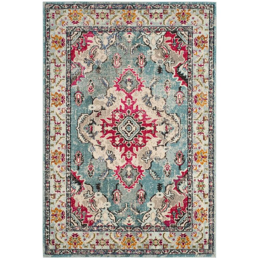 Safavieh Monaco Mahal Light Blue/Fuchsia Indoor Distressed Area Rug (Common: 8 x 10; Actual: 8-ft W x 10-ft L)