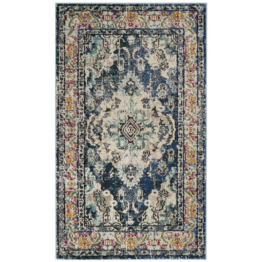 Safavieh Monaco Mahal Navy/Light Blue Rectangular Indoor Machine-Made Distressed Throw Rug (Common: 3 x 5; Actual: 3-ft W x 5-ft L)