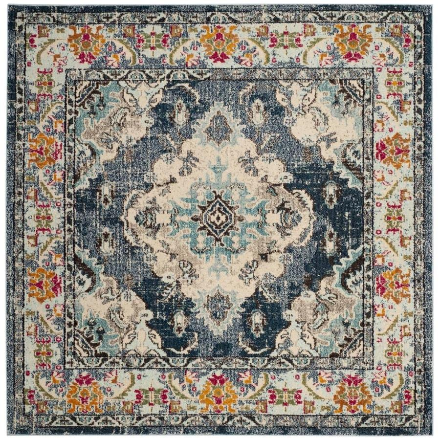 Safavieh Monaco Mahal Navy/Light Blue Square Indoor Machine-Made Distressed Area Rug (Common: 7 x 7; Actual: 6.6-ft W x 6.6-ft L)