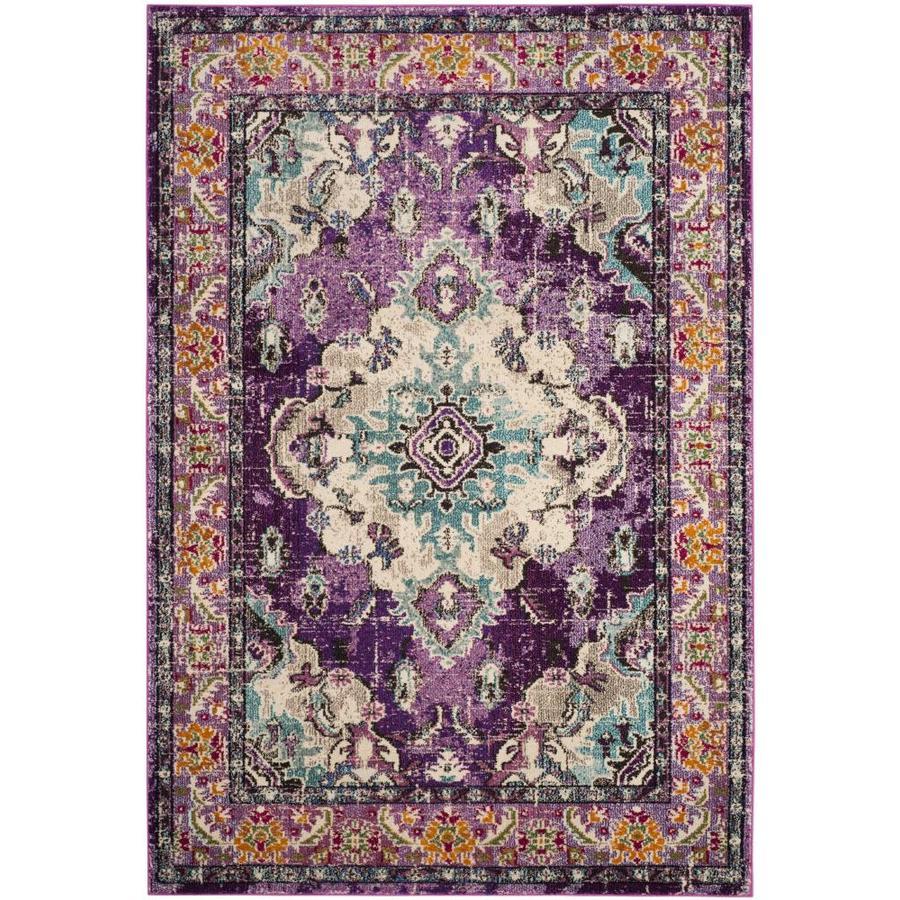Safavieh Monaco Mahal Violet/Light Blue Indoor Distressed Throw Rug (Common: 2 x 4; Actual: 2.2-ft W x 4-ft L)